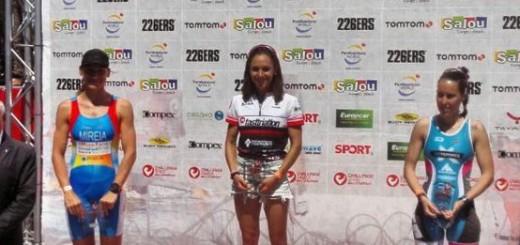 Anna Flaquer al podi del duatló Challenge Salou