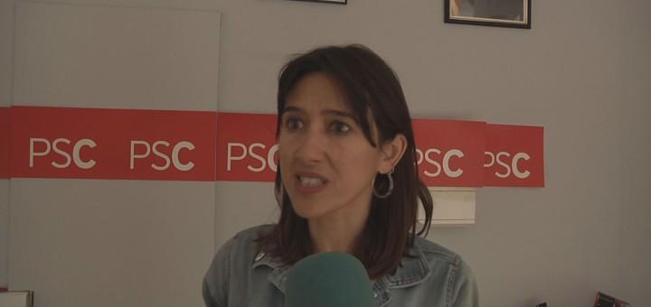 Núria Parlón a la seu del PSC Calella