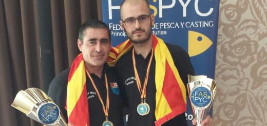 Ivan Mora i Dani Cobo, s'han proclamat campions d'Espanya de Pesca (Foto: Penya Llobarrera)