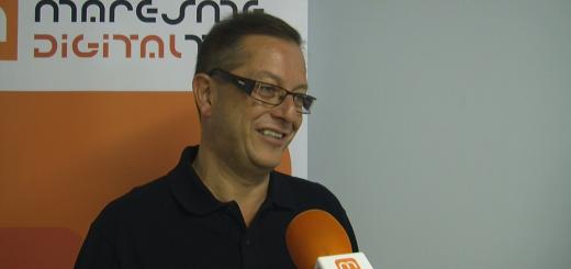 Joan Josep Ribas 'Txespi' en una entrevista als estudis de Ràdio Calella TV