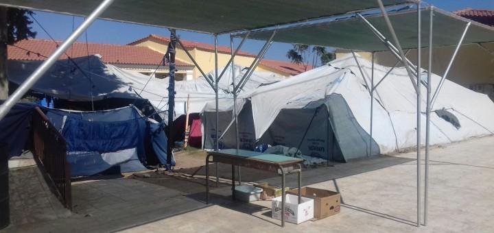 Camp de refugiats de Chios (Grècia), on membres de Calella pels Refugiats han treballat en projectes de voluntariat