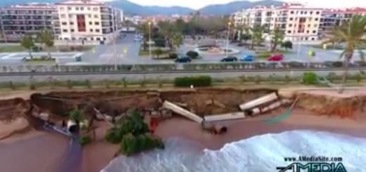 Tram afectat pel temporal marítim on està instal·lat el col·lector d'aigües brutes