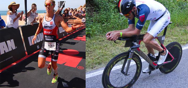 Emma Pallant (esquerra entrant a la linea d'arribada) i Jan Frodeno (en plena cursa ciclista) Fotos: Alfred Lieury