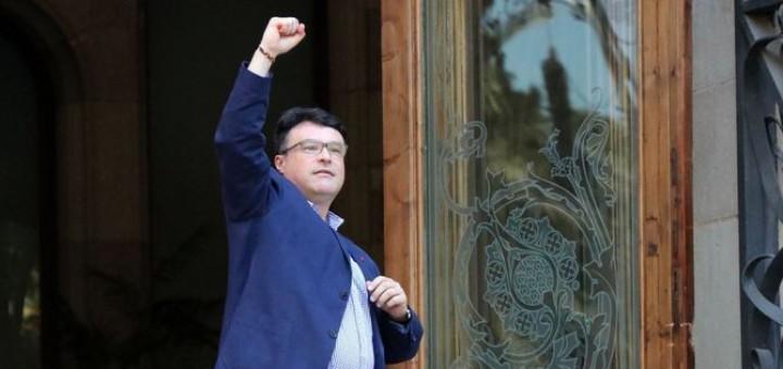 Joan Josep Nuet entrant aquest matí al Palau de Justícia