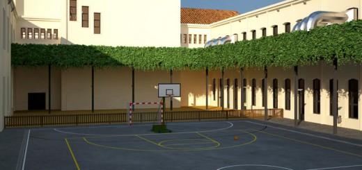 Primera recreació del pati de Primària de la futura Escola Salicrú