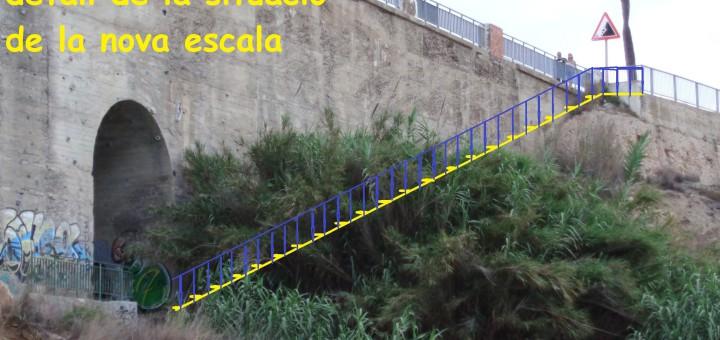 Simulació de l'escala que connectaria el passeig Manuel Puigvert amb la cala Rocapins, el Far i les Torretes.