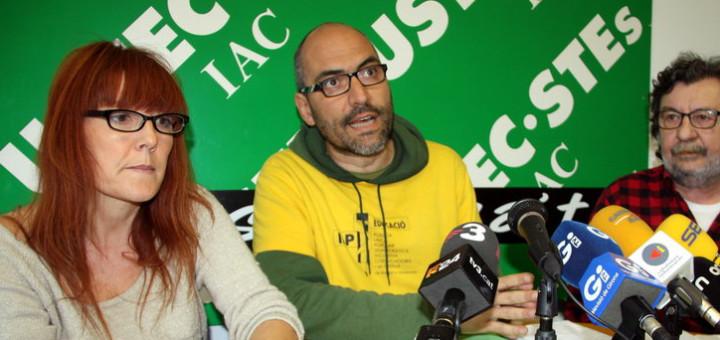 Representants d'Ustec en una roda de premsa a Girona, amb Laura Iglesias, Ramon Font i Jaume Mínguez. La foto és de l'ACN.