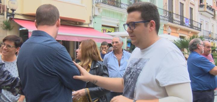 Josep Grima, a la dreta, en un acte de protesta pels fets de l'1 d'octubre