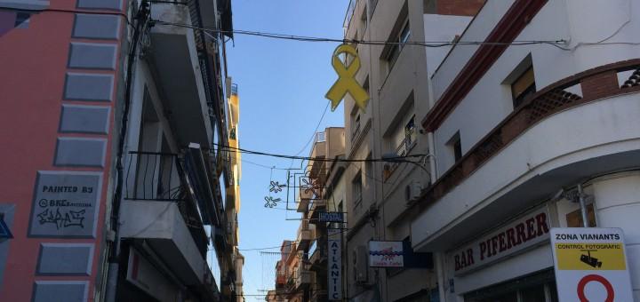 Detall de la il·luminació nadalenca al carrer Sant Joan