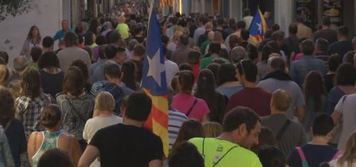 Manifestació silenciosa pels carrers de Calella durant l'aturada de país del passat 3 d'octubre