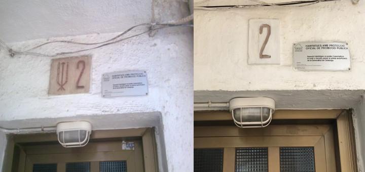 Una de les plaques franquistes que hi havia als pisos de Sant Quirze, actualment retirades.