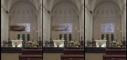 Recreació gràfica de les tres opcions que valora la parròquia sobre la corona d'espines de l'altar