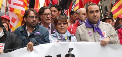 Els líders catalans dels sindicats majoritaris, CCOO i UGT, durant una jornada de vaga. Foto: CCMA