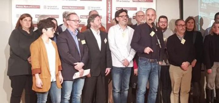 Representants de les entitats i plataformes signants del manifest  contra les vulneracions de drets de l'1 d'octubre