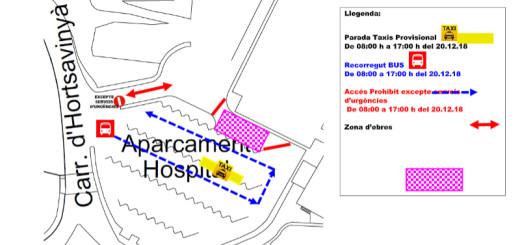 Afectacions que hi haurà demà a la zona de l'hospital de Calella.