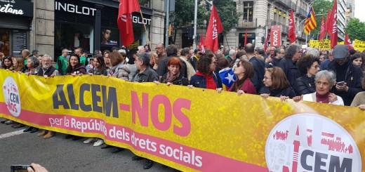 Capçalera de manifestació convocada per la Intersindical en una imatge d'arxiu