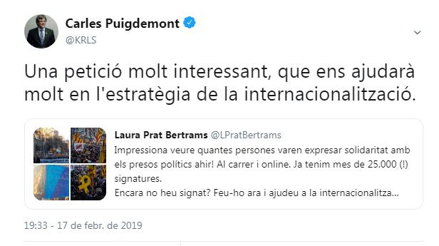 captura tuit Puigdemont
