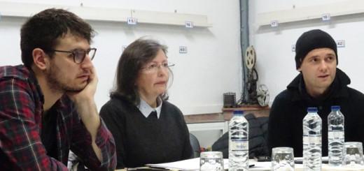 El jurat del Trofeu Torretes de Curtmetratges (Marc Grèvol, Amor Dibo i Marc Fàbregas), reunit dissabte al local de Foto-Film Calella