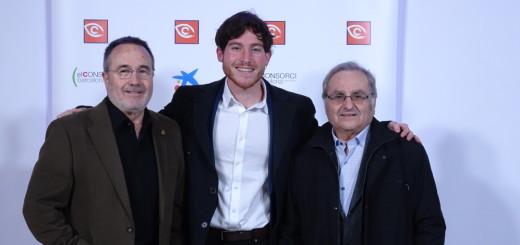 Josep Maria Colomer (esquerra), Pau Batrolí (centre) i Pere Mas (dreta) a la gala dels Premis Zapping