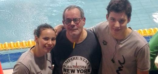 Vilardebó i Brunet acompanyats del seu entrenador, Jordi Comas