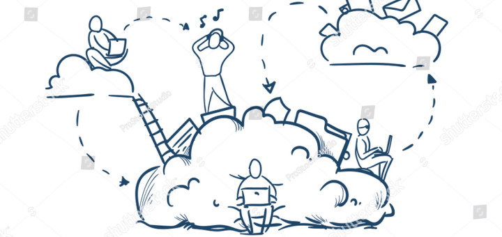 stock-vector-business-people-stairs-on-data-cloud-storage-cycles-synchronization-concept-team-working-on-white-1154392642