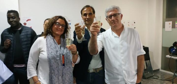 Anna Giménez, Josep Maria Juhé i Sebastián Tejada, la nit electoral a la seu de Calella en Comú