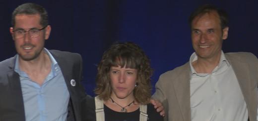 Els caps de llista Xavier Ponsdomènech (ERC), Núria Freixas (CUP) i Josep M. Juhé (CEC) en el debat electoral de RCTV