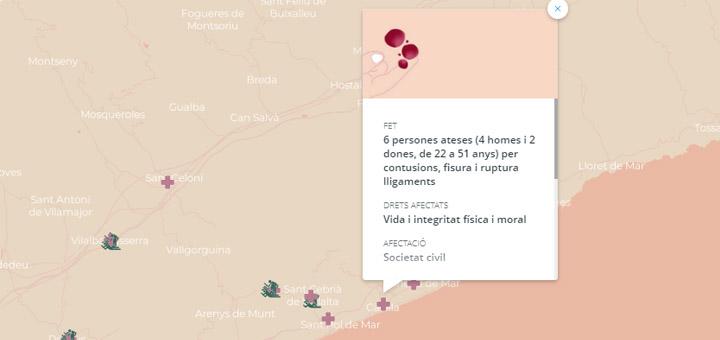Font:  Cartografia de la repressió de l'1 d'octubre.