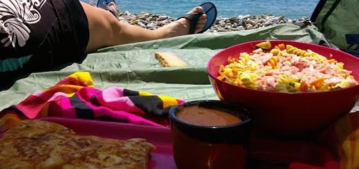 menjar a la platja