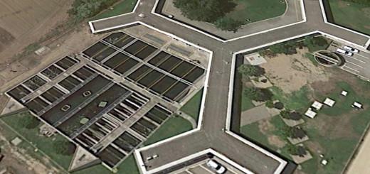 Imatge aèria de la planta potabilitzadora de Palafolls (Google Earth)