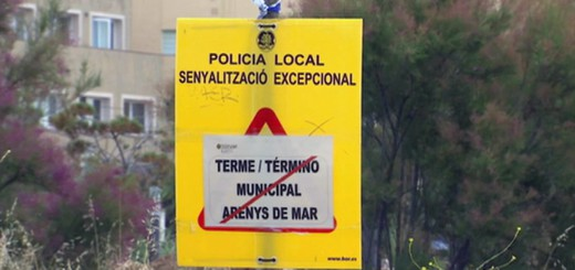 Senyal que indica el límit fronterer entre les regions sanitàries de Girona i Bbarcelona