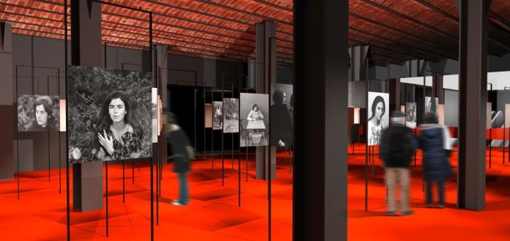 Muntatge de l'exposició sobre la Nova Cançó, produïda pel Museu d'Història de Catalunya