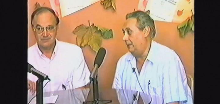 Pere Bellavista (a la dreta) en una entrevista a Calella Televisió, l'any 1987.