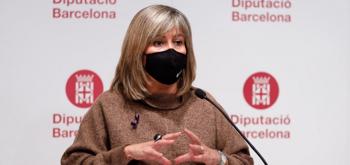 La presidenta de la Diputació de Barcelona, Núria Marín, en la presentació del pressupost del 2021