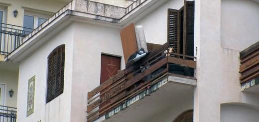 Balcó de la finca ocupada al carrer Diputació