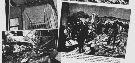 Retall de premsa amb imatges dels desperfectes que va provocar el bombardeig de l'any 1937 a la fàbrica