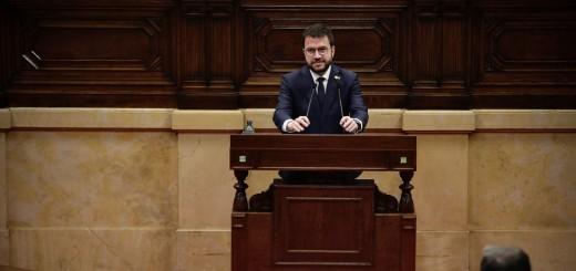 Pere Aragonès durant el ple d'investidura al Parlament
