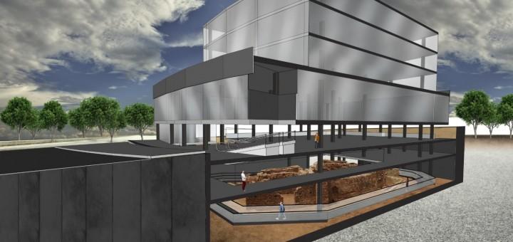Recreació del projecte de museïtzació del jaciment del Roser sota el supermercat Aldi