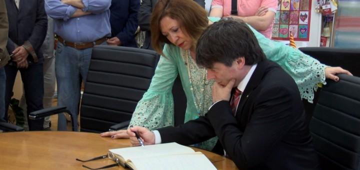 Candini i Puigdemont en la visita del president a Calella (2017)
