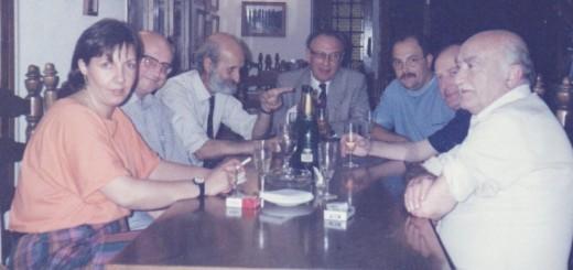 Dolors Rovira amb Joan Puig Bascu, Francesc Vicens (diputat d'ERC), Frederic Forest, Francesc Subirana, Josep Juanola i Francesc Puig (Paco Tano), l'any 1986. Foto: Esquerra Calella